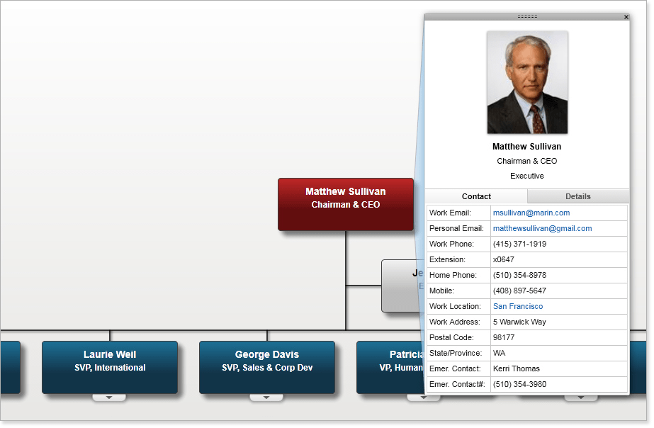 """Use the """"baseball"""" card feature to expand on the selected employee details, conduct side by side employee comparisons. Then be kept open on the screen as you navigate through the chart."""