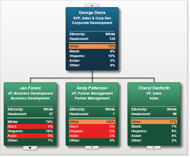 Use built in formulas to calculate workforce metrics, for example, the diversity ratios in your organization.
