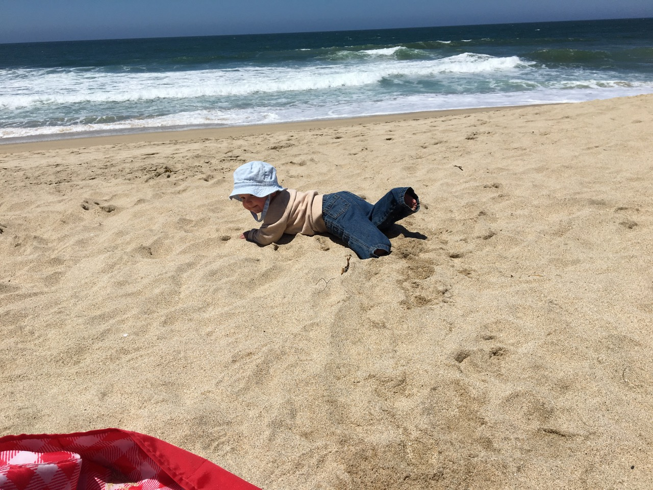 Running away at the beach