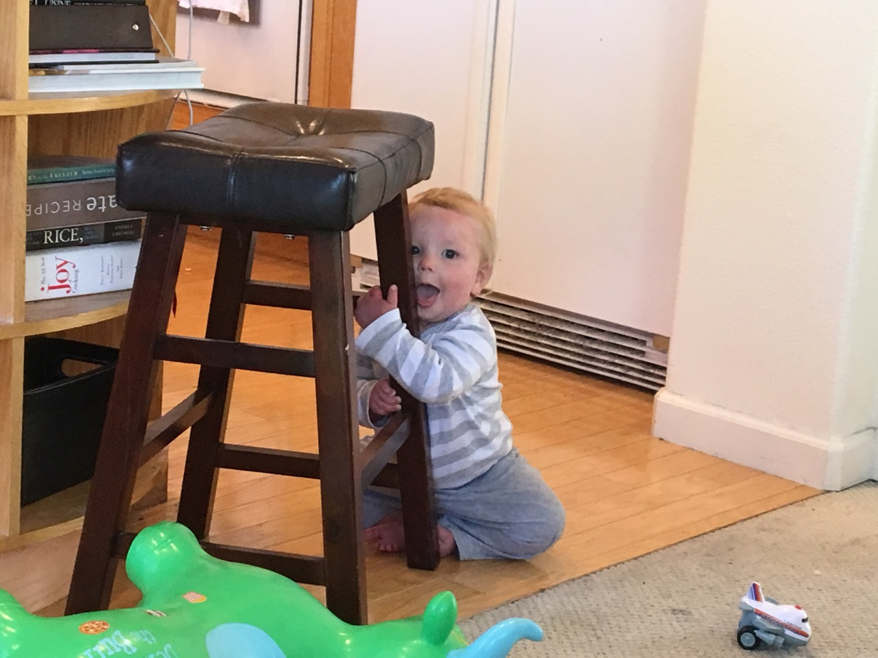 So happy about pushing the stool back and forth