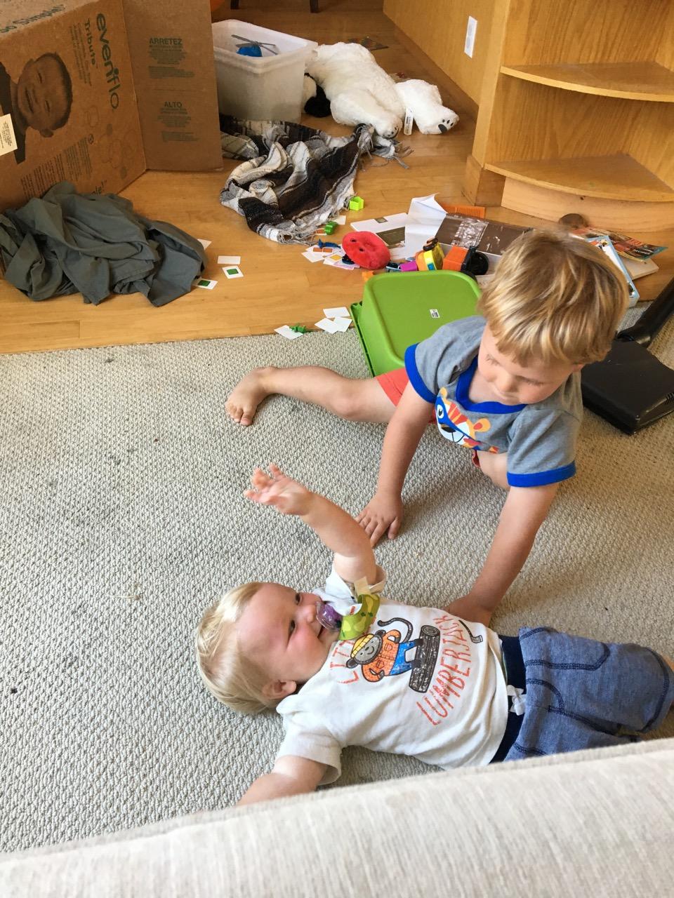 Arthur playing tiger attack