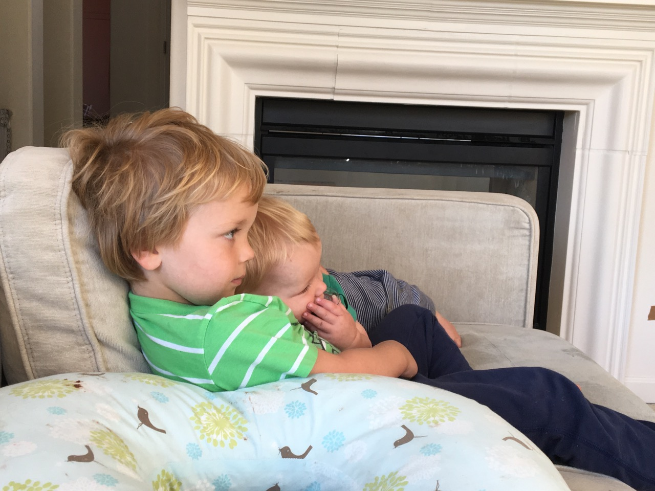 Snuggling and watching tv with brother
