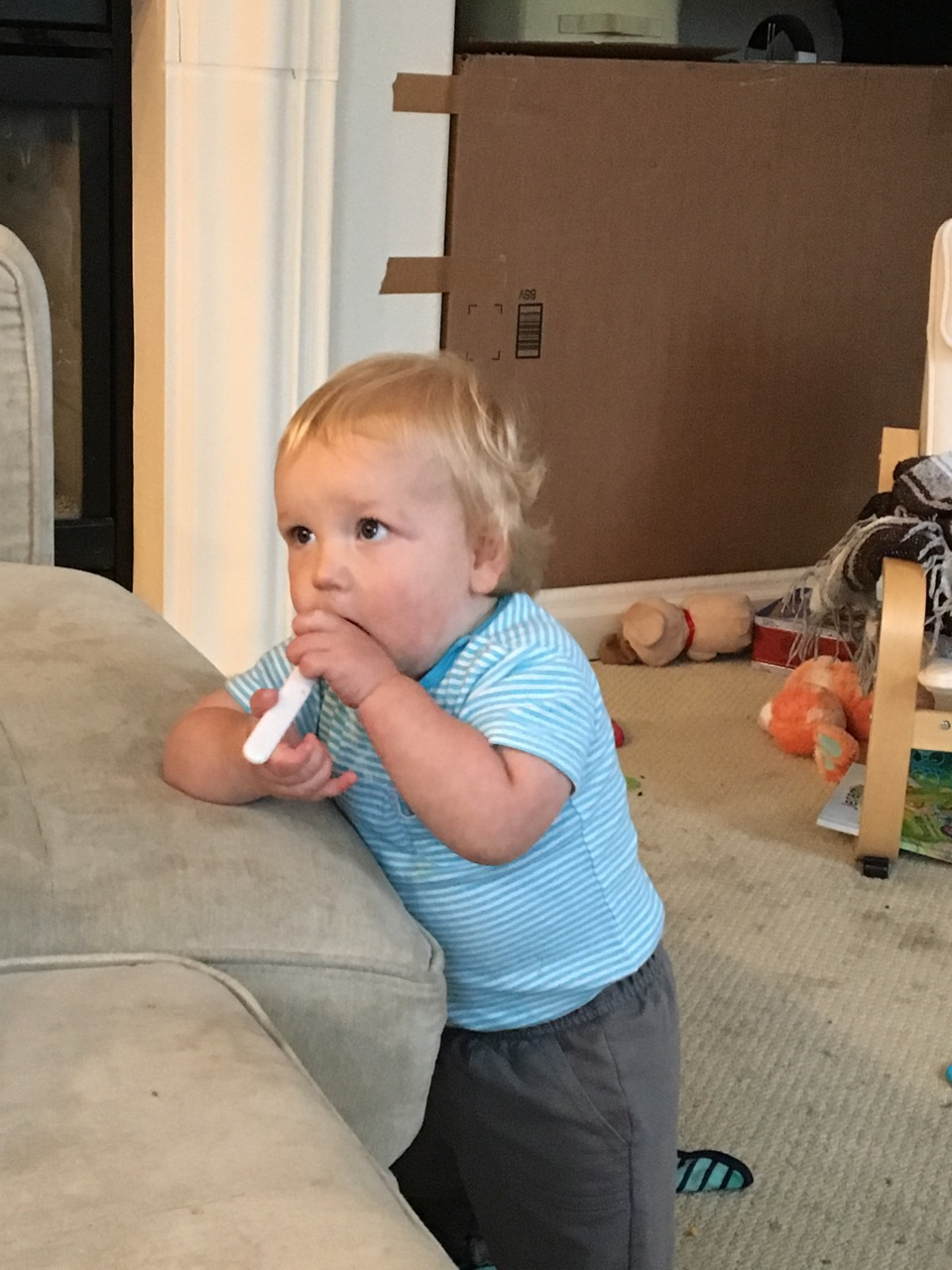 Stealing big brother's yogurt spoon