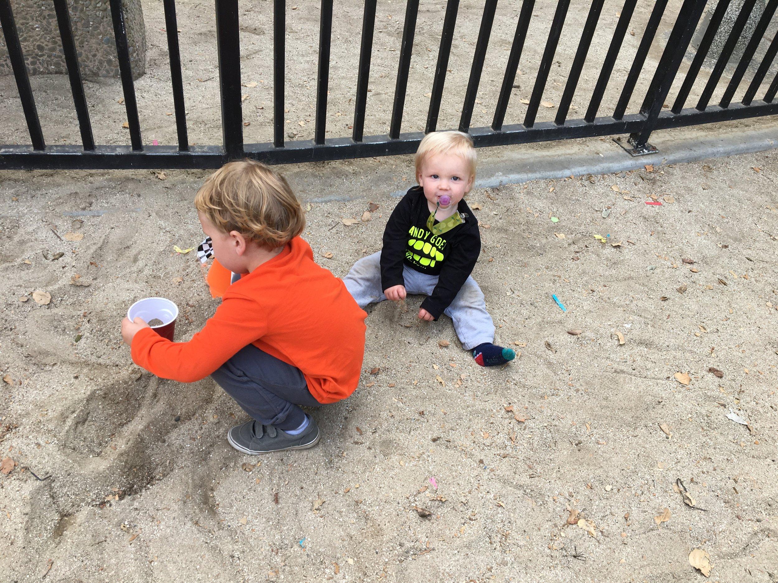 Someone loves sand!
