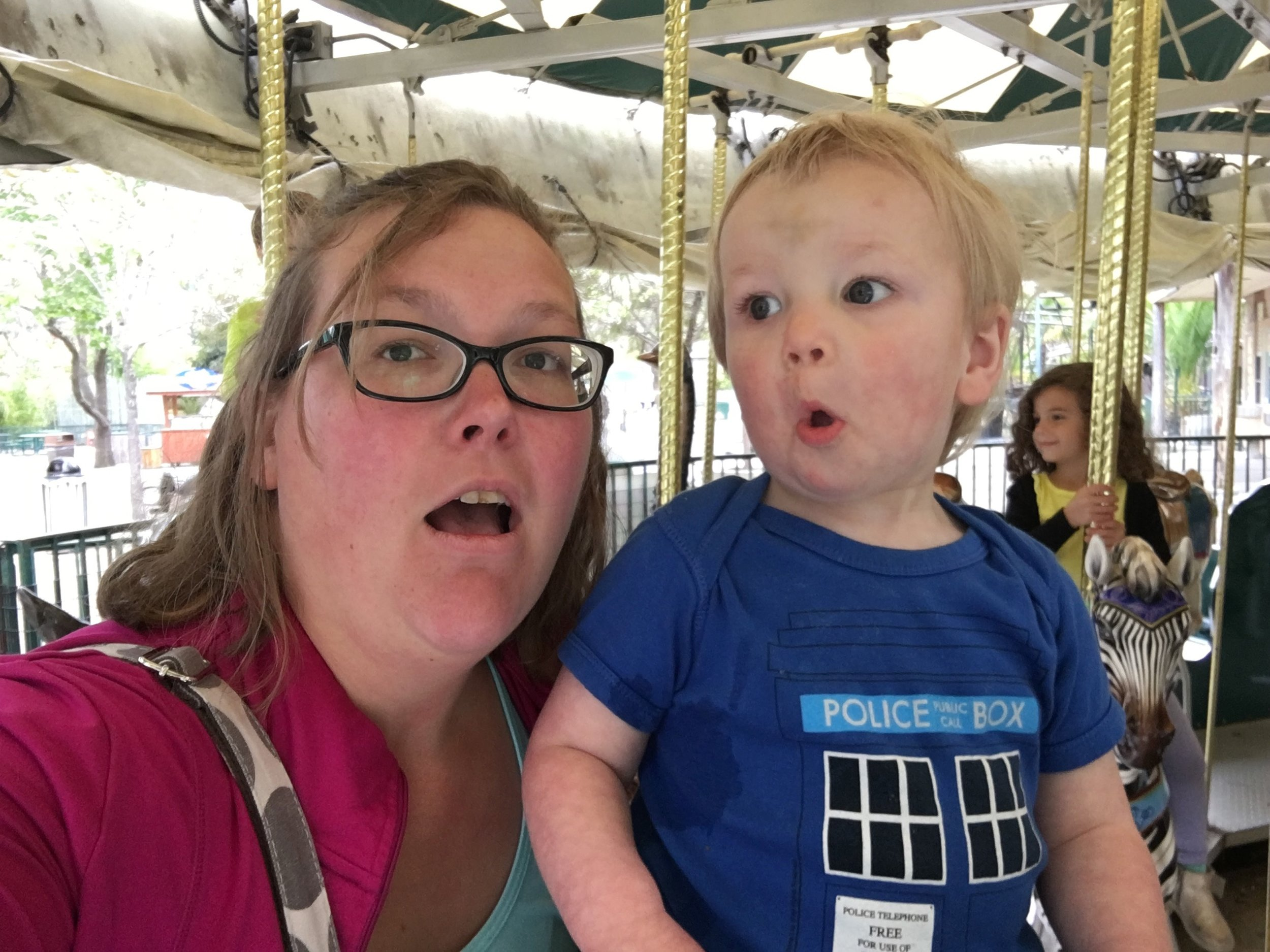Silly faces on the carousel