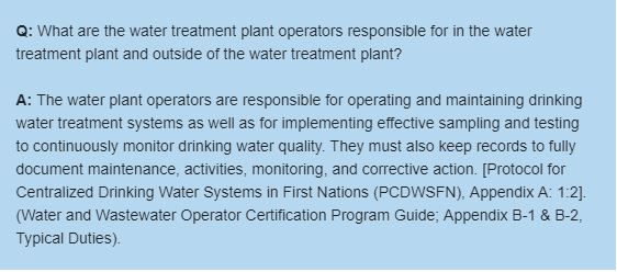 What are water treatment plant operators responsible for in the water treatment plant and outside of the water treatment plant?