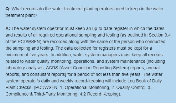 What records do the water treatment plant operators need to keep in the water treatment plant?
