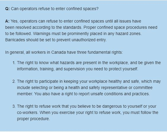 Can operators refuse to enter confined spaces?