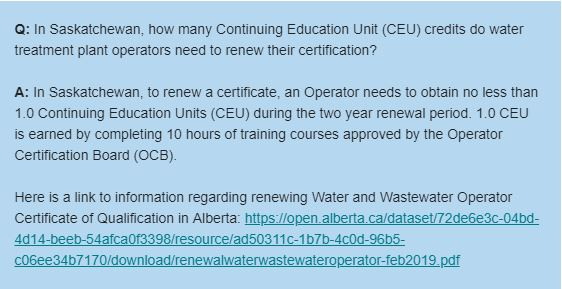 In Saskatchewan, how many Continuing Education Unit (CEU) Credits do Water Treatment Plant Operators Need to Renew their Certification?
