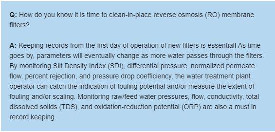 How do you know it is time to clean-in-place reverse osmosis (RO) membrane filters?