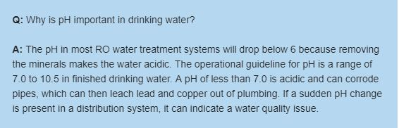 Why is pH important in drinking water?