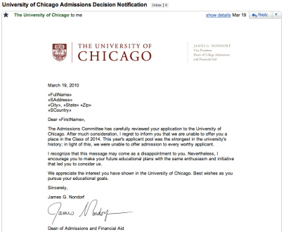 """UChicago sending personalized emails to """"FirstName"""""""