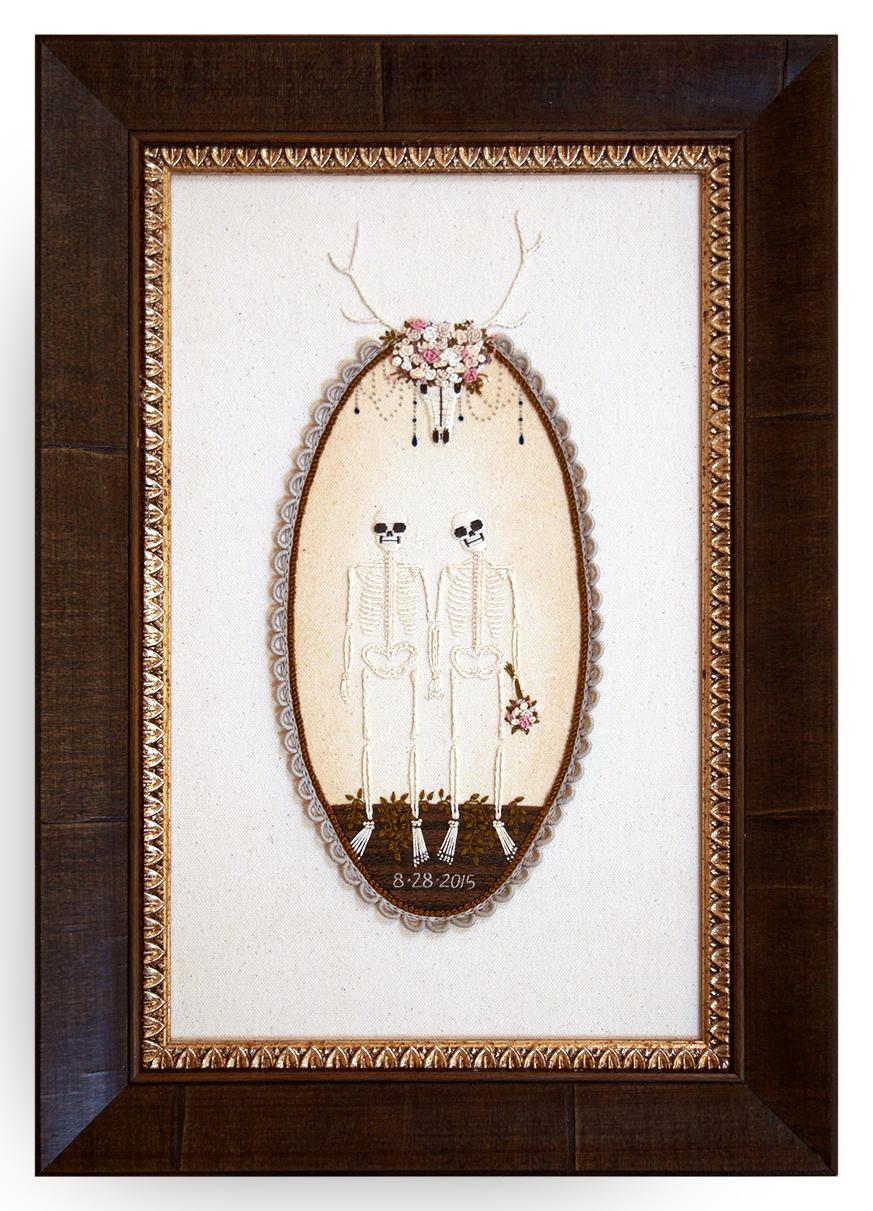 Embroidered Skeleton Portrait