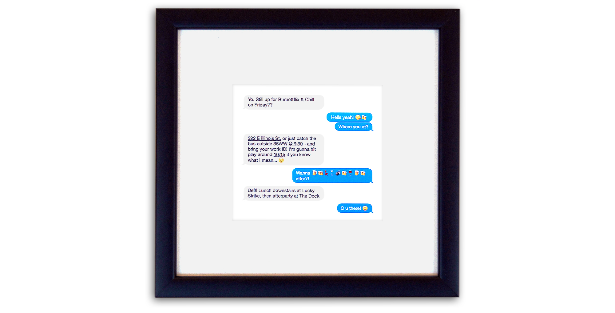 Framed Text Message Conversation