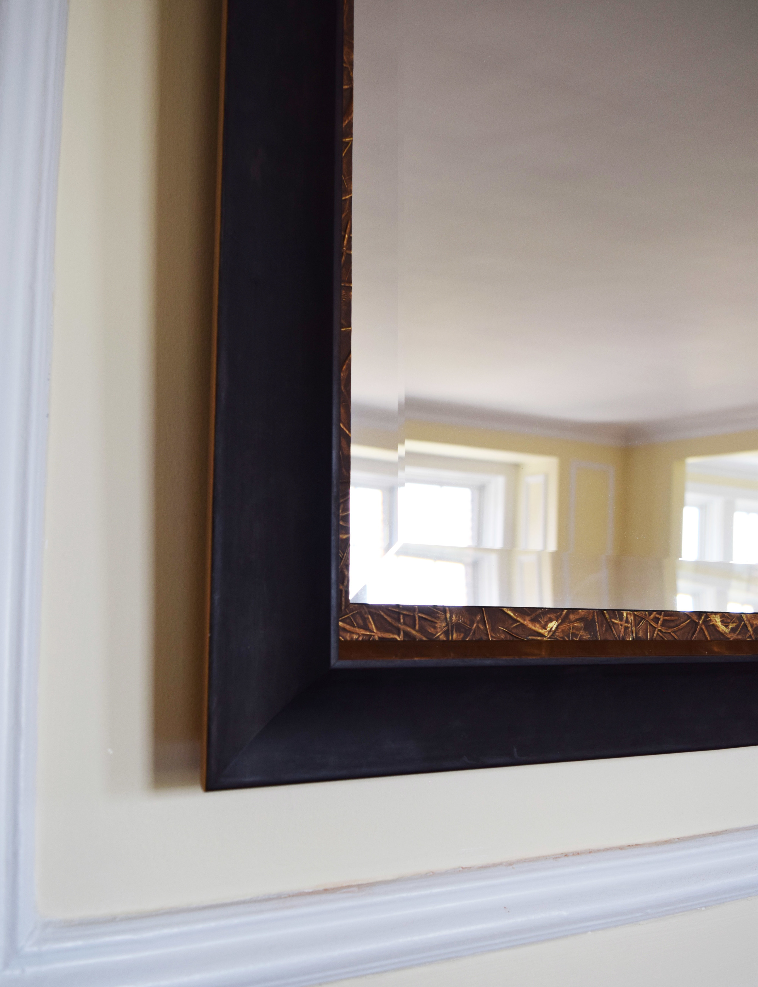 """IRON AND BRONZE """"STONEHENGE"""" FRAME WITH """"BRAMBLE"""" ACCENT AND BEVELED MIRROR"""