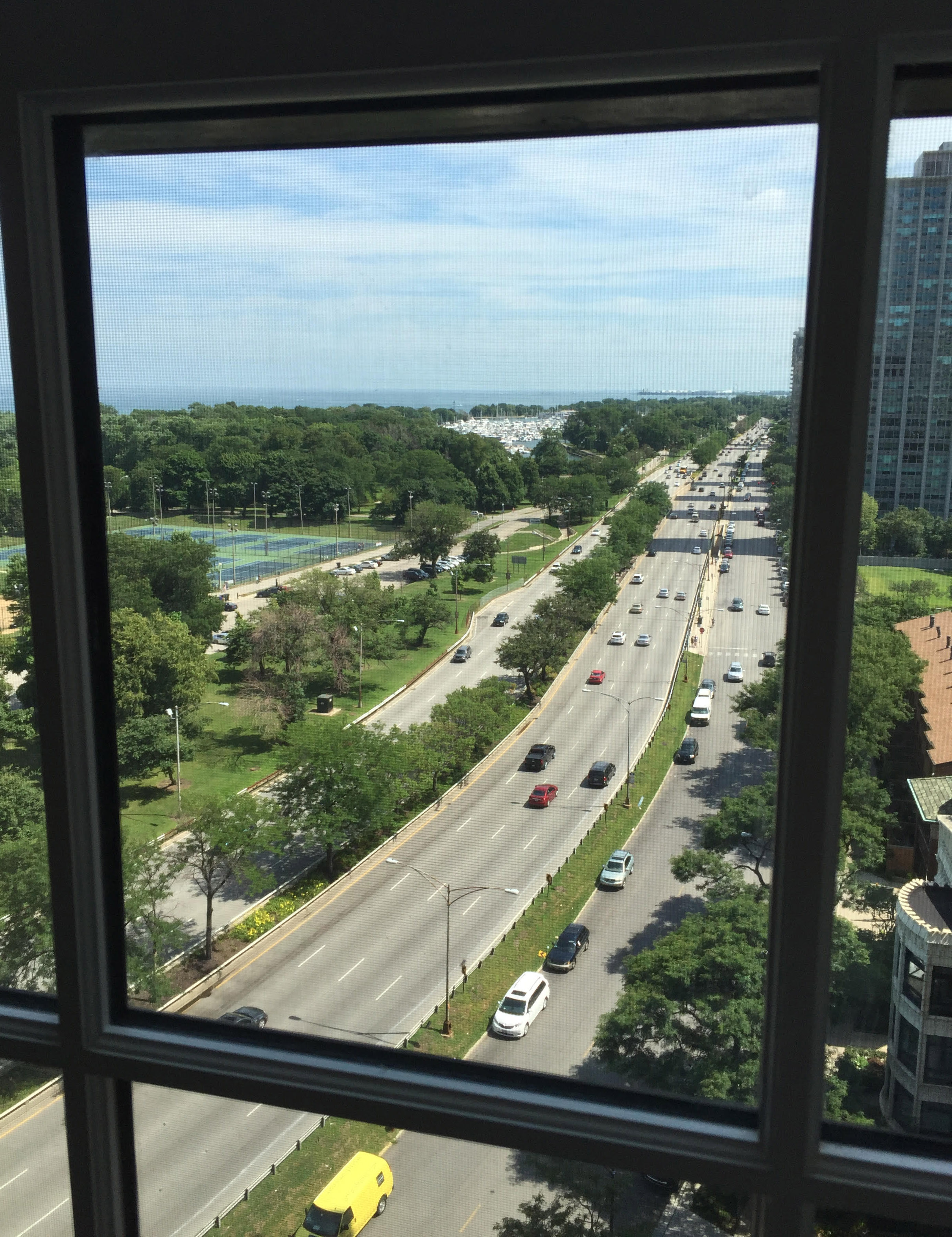 THE VIEW OUT THE WINDOW LOOKING SOUTH ON LAKE SHORE DRIVE.