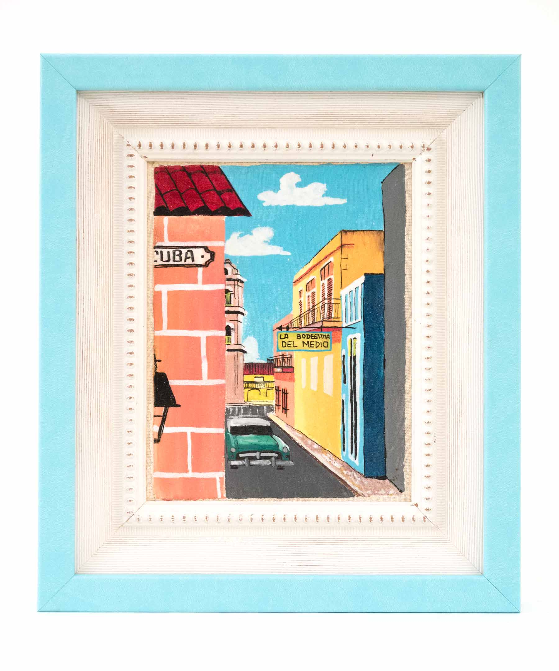 A souvenir purchase in Cuba, framed in Bahama Blue from the Malecon collection.