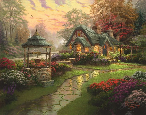"""The 1980s brought with it the popularization of Thomas Kinkade, dubbed the """"painter of light"""" for his naturalistic scenes with highlights that appeared to glow. His canvases were mass-produced prints to which he added small, brightly toned details. Popular frame choices for these pieces? Mauve and aqua frames which accented the bright colors.    Image via thomaskinkade.com."""