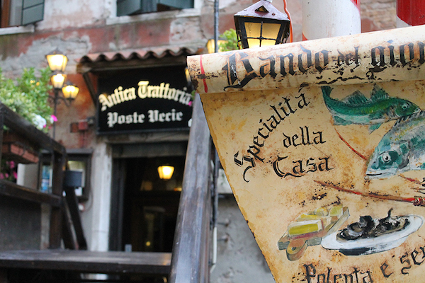 Favorite risotto spot: Poste Vecie. Hidden behind the Rialto fish market in what was the post office in the 1500's. Casanova ate here!