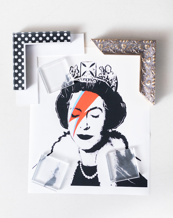 Though sequins are an interesting starting point, there's so many styles that could work with this graphic, iconic piece. Polka dots? Sure - why not? Ornate and grand. It would certainly be appropriate for the current resident of Buckingham Palace.