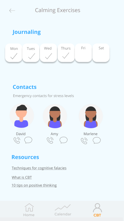 The companion app allows users to access CBT (cognitive behavioural therapy) techniques, as well as journal their periods of stress for later analysis.