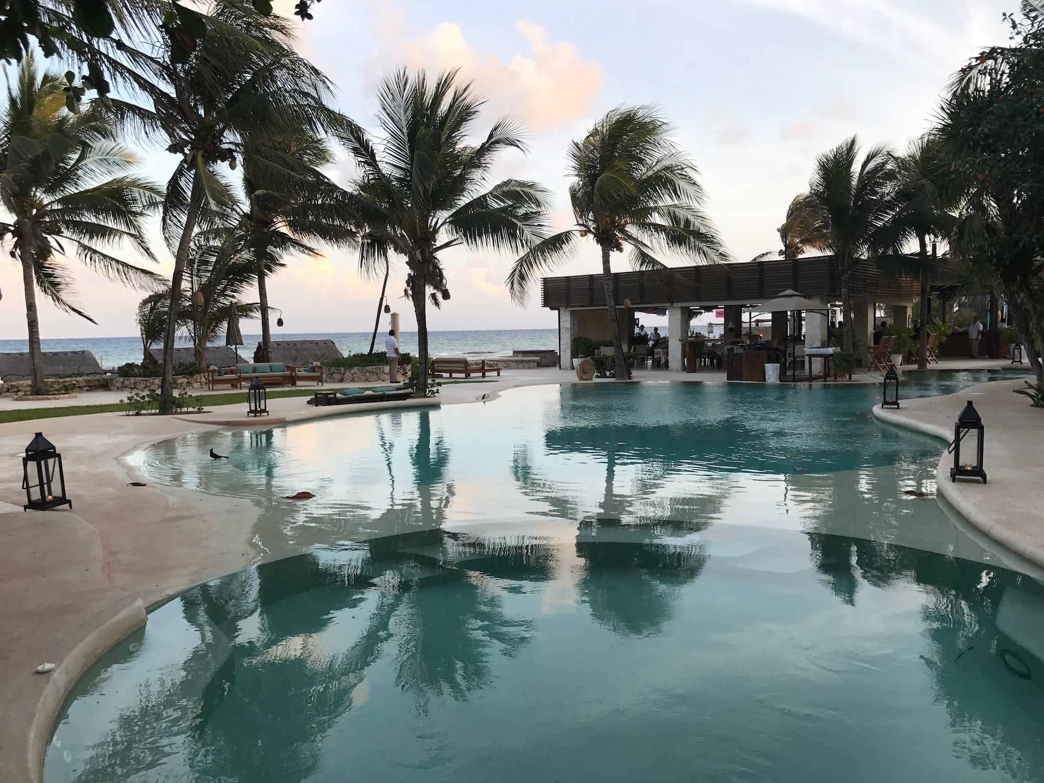 The outdoor infinity pool