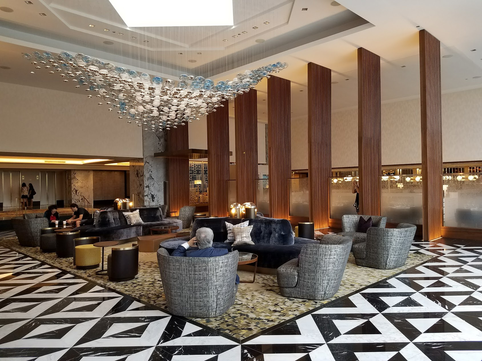 """The newly transformed lobby lounge at the Ritz Carlton Chicago. This guy is like """"I'm moving in."""""""
