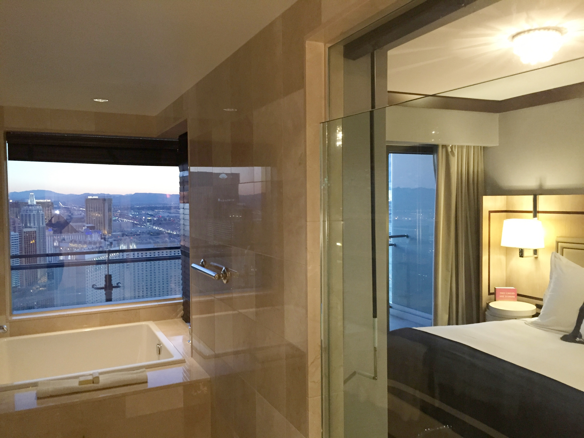 In the Cosmopolitan suites, the jacuzzi tubs also have insane views of the strip.