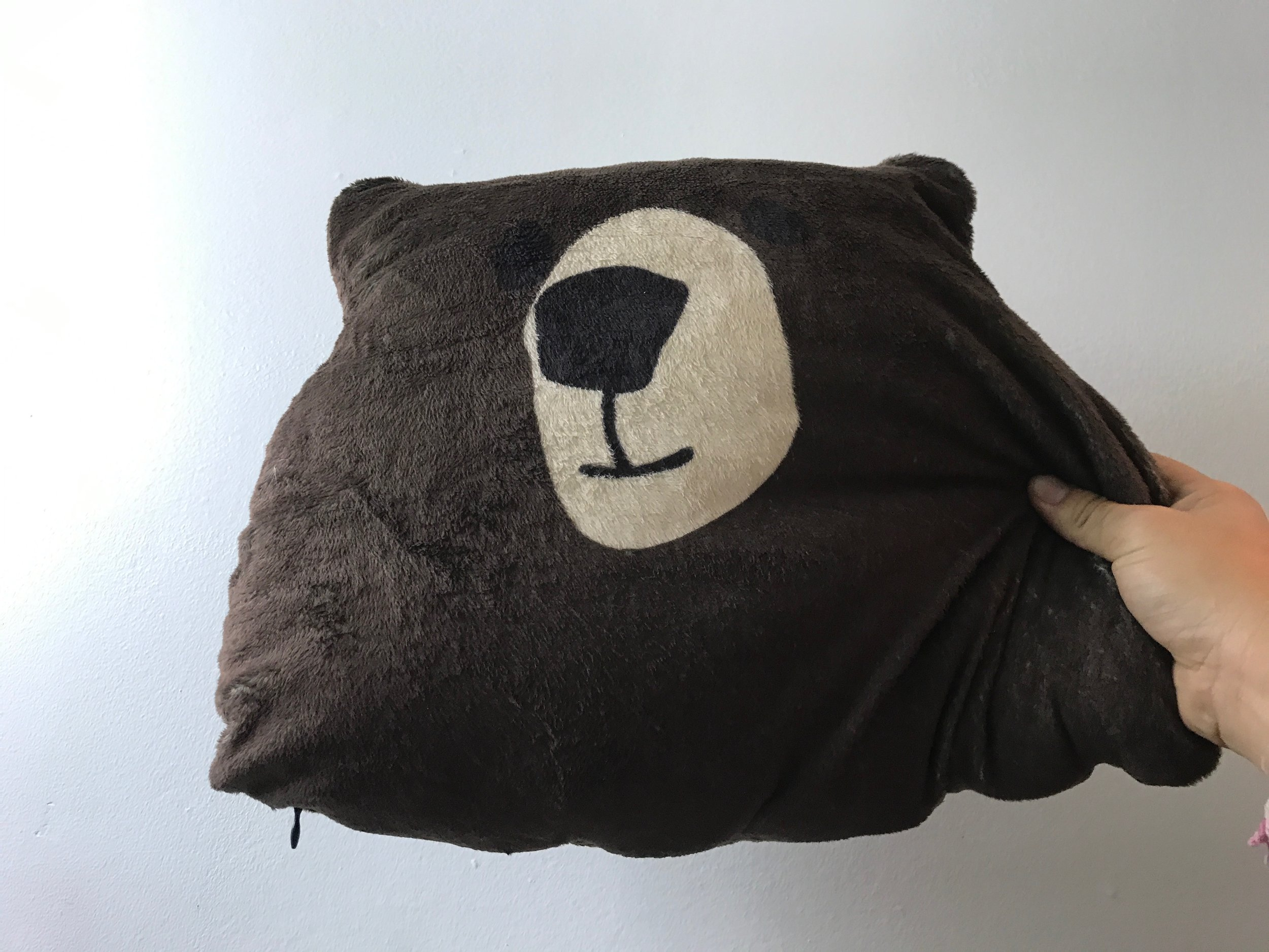This is the bear pillow I always travel with (it definitely stands out so I no longer leave the pillow on planes!). If you're good at leaving things on planes, get a bear pillow. Or use your jacket or sweater.