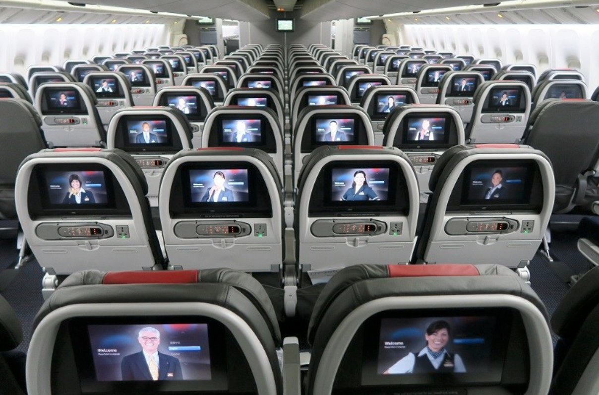 American Airlines economy seat aboard 777-300ER.