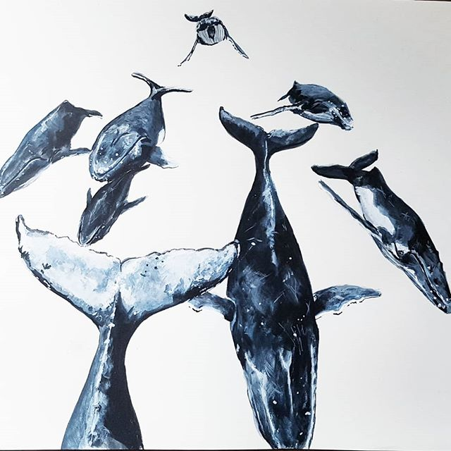 Traffic's bad today #whales  #heatrun #swimmingwithwhales #painting #art #sydneyartist