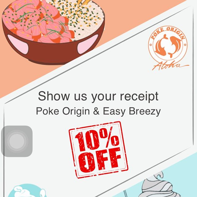 "Not just that one promo We also now partner with our next door ""Easy Breezy Yogurt Shop"" When you make a purchase from either store You will get 10% off on the same day purchase Check with cashier for limitation/restrictions  Don't wait! Stop by to Poke Origin now We open daily from  11am-10pm #poke #dessert #yogurt #pokebowl #sf #freebie #free #discount #irving #san francisco #sunset #yummy"
