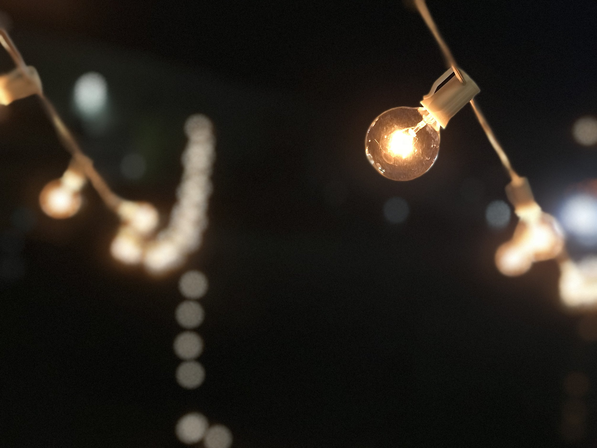 Bistro Lighting - Seen at French bistros and cafes, and sometimes referred to as market string lights, these globe string lights create a romantic atmosphere perfect for any venue or occasion.