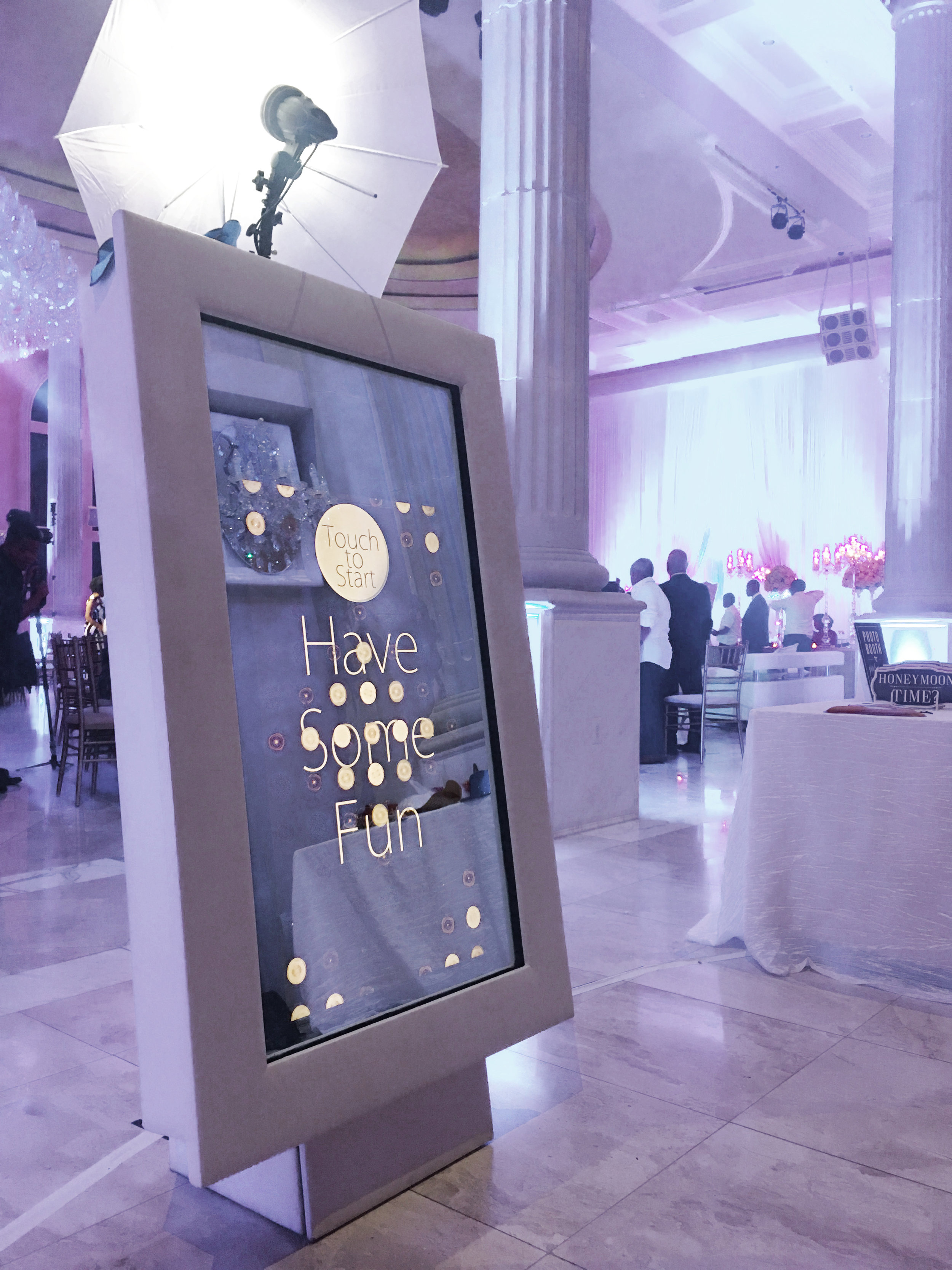 MAGIC SELFIE MIRROR - Take selfies to another level with our one of a kind Magic Selfie Mirror! Standing almost 6' tall, it's elegant design and huge animated touchscreen is sure to turn heads at any event. Book the Magic Selfie Mirror for your next occasion!