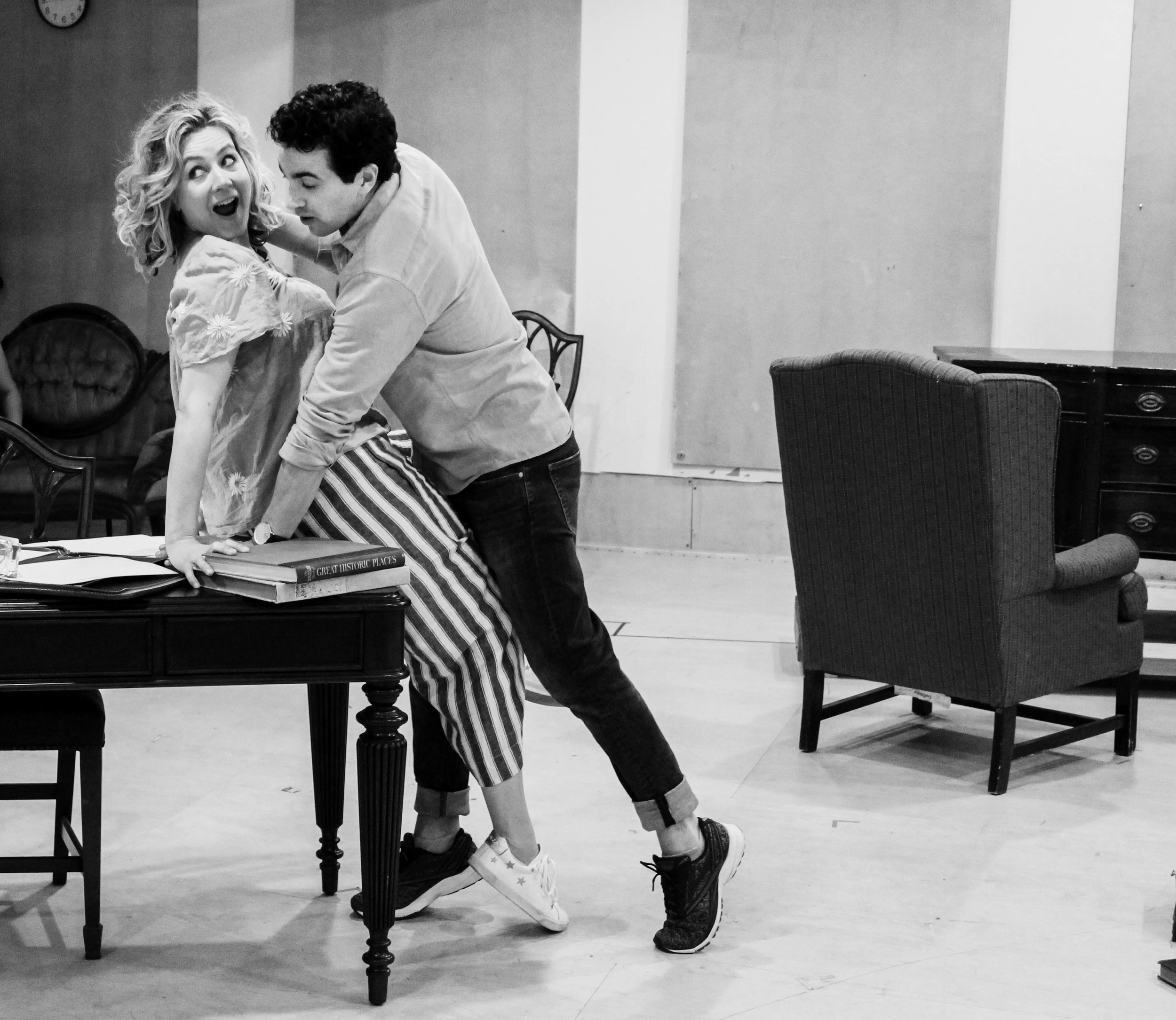 Stephen Stocking and Jennifer Mudge in rehearsal for MRS. CHRISTIE