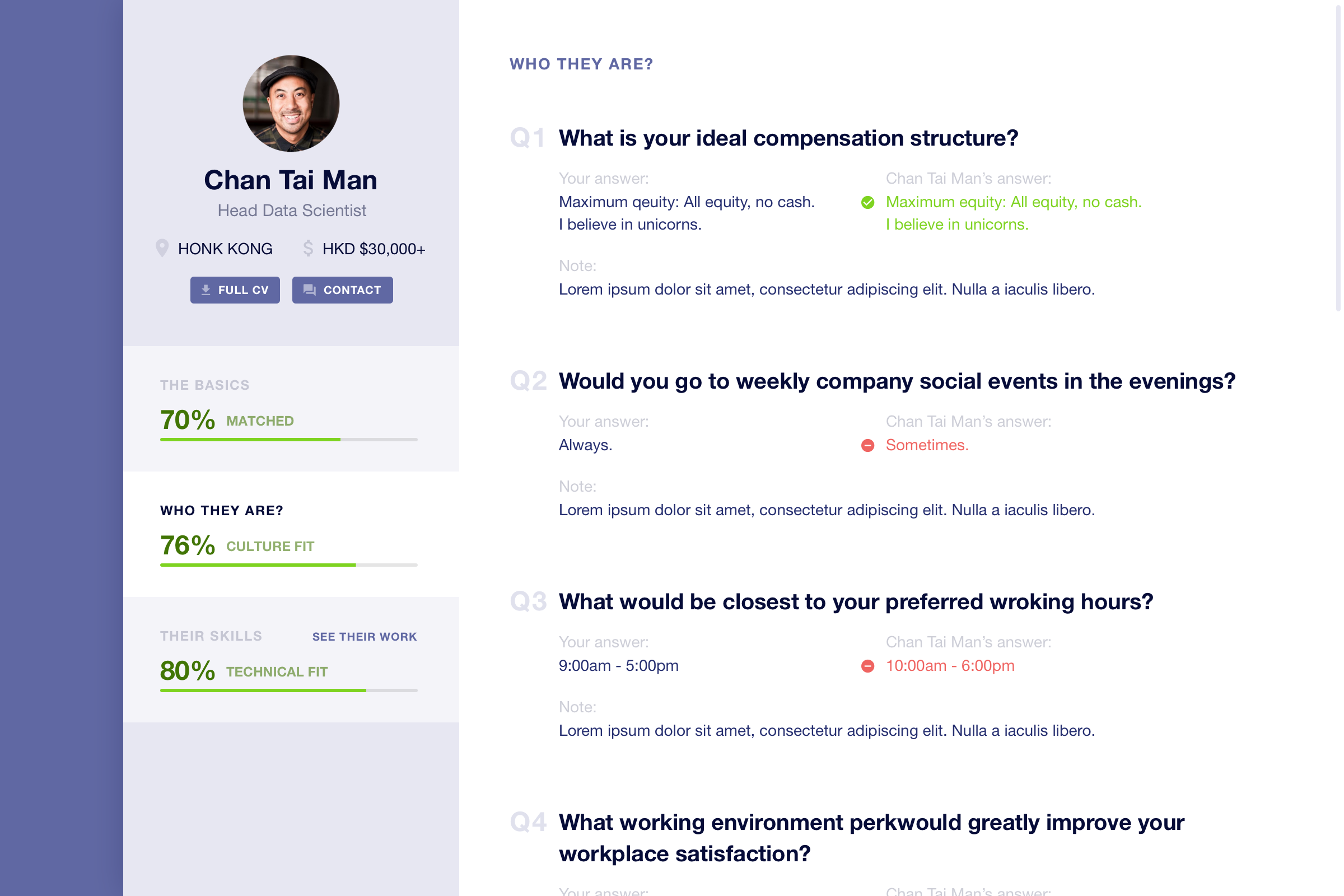 Candidate Profile Page  - I finally deviate from the wireframes because from the UX perspective it works better for the user to always be able to navigate on the profile while scrolling through the details of the selected category.