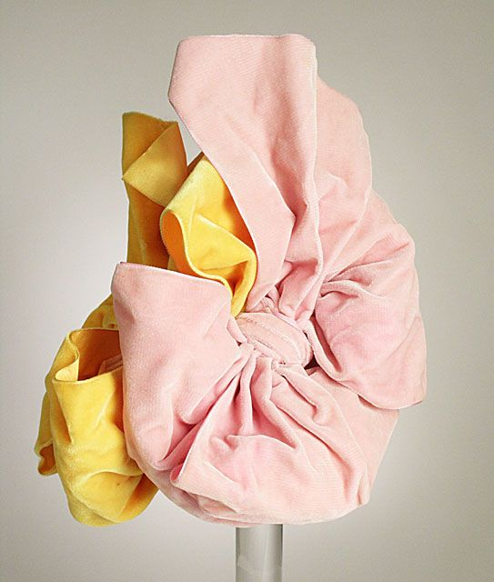 Pink and yellow silk velvet doll hat by Elsa Schiaparelli, French, autumn 1939