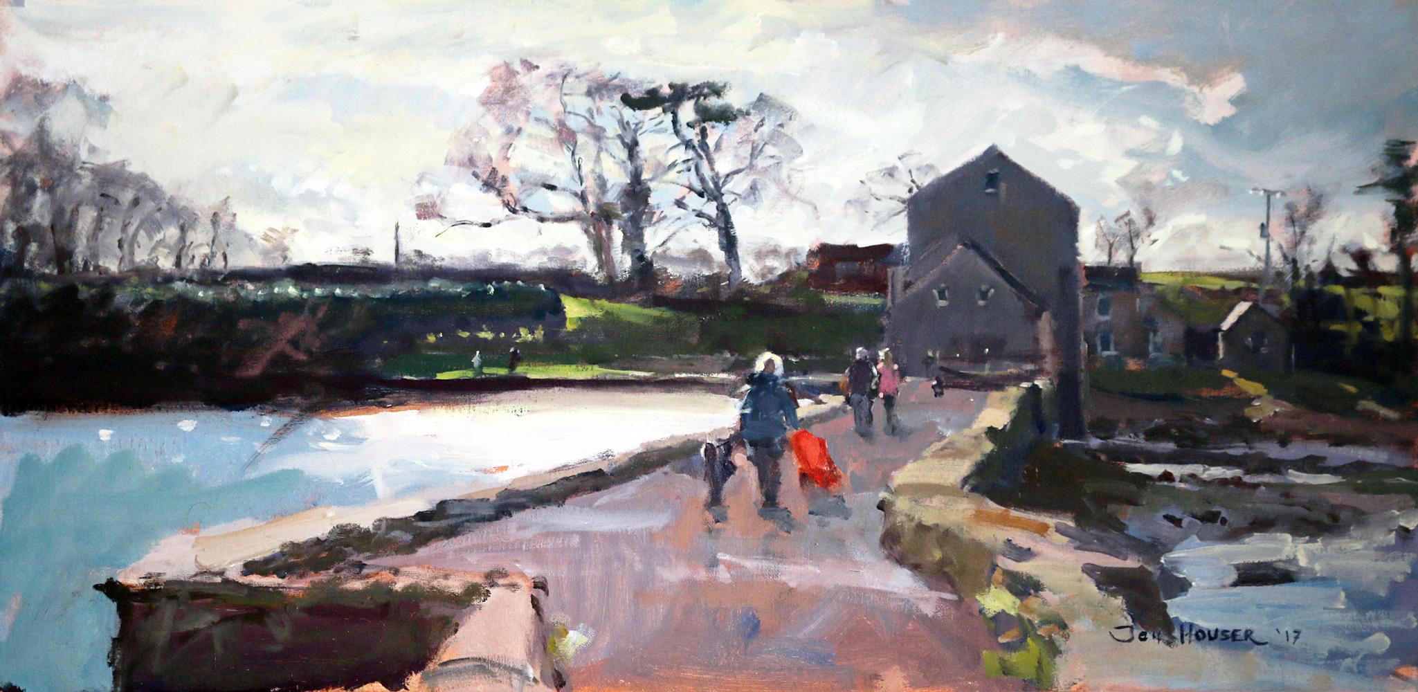 Jon Hauser  Carew Tidal Mill Walk with Red Stroller   Oil £575