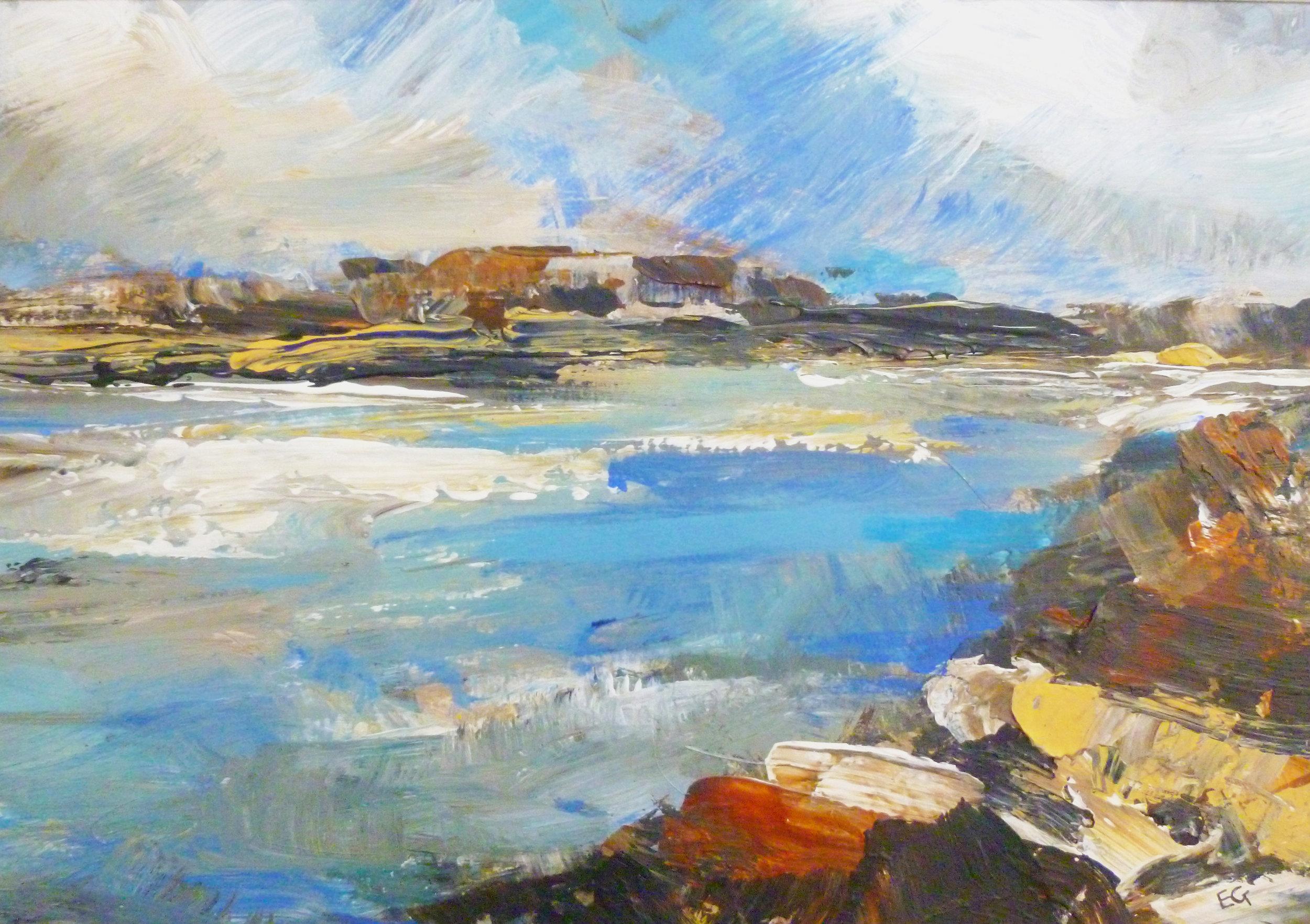 Elaine Graham 'Pembrokeshire Coastal' acrylic on board