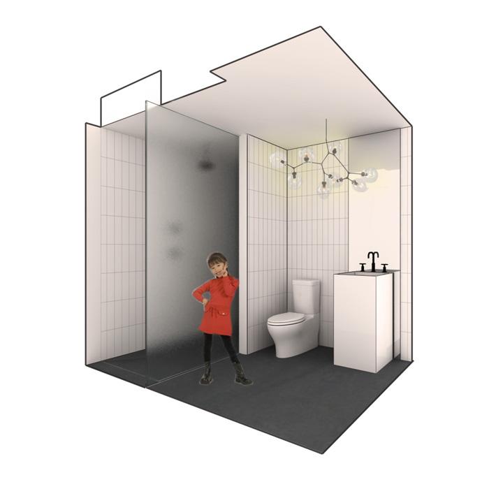 rendering of powder room