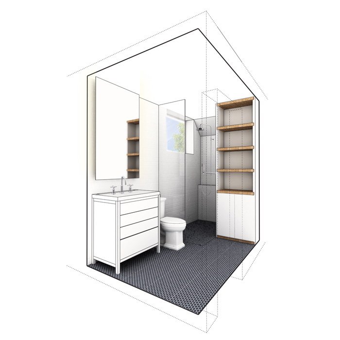 rendered view of master bath