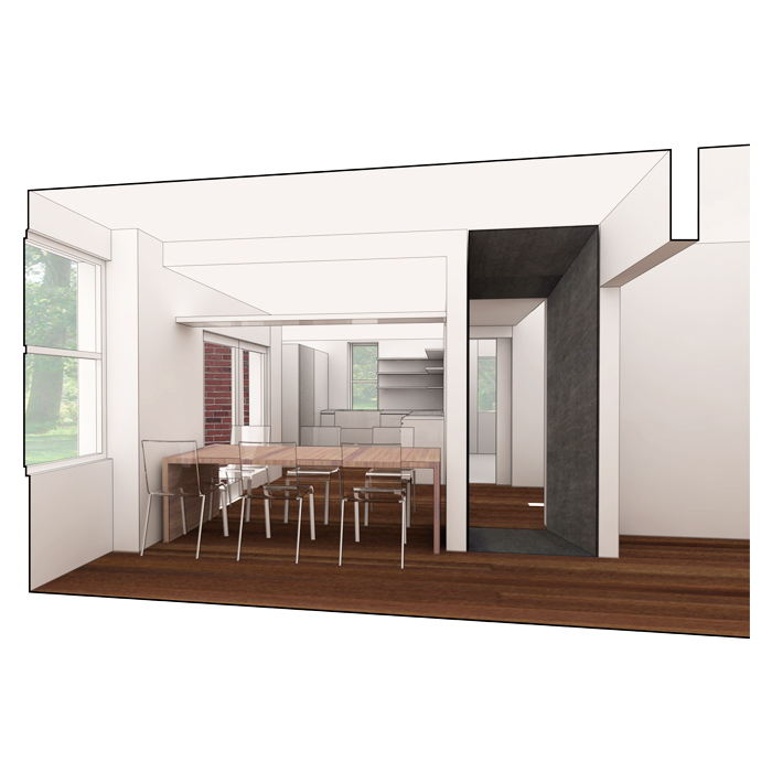 rendering of dining room with chandilier position