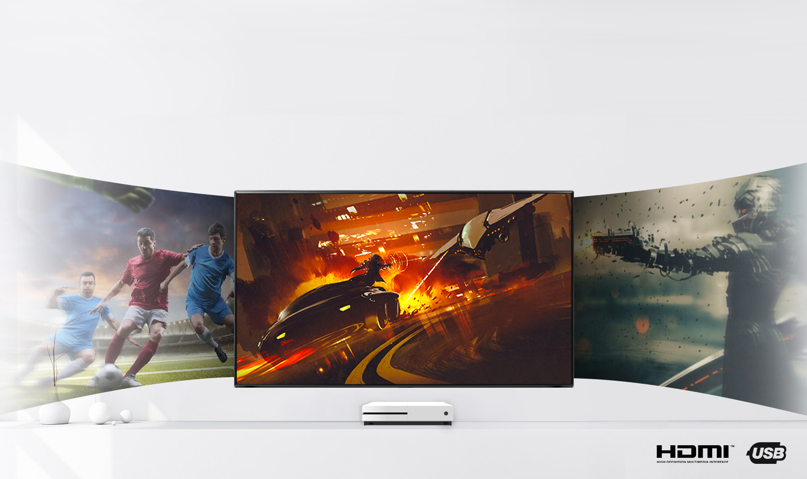 Immersive home entertainment - Plug and play. With multiple inputs you can plug in your HDMI cable or USB and play out your entertainment, games or digital devices through your TV.