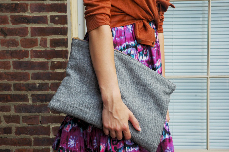 fox and vintage oversized clutch