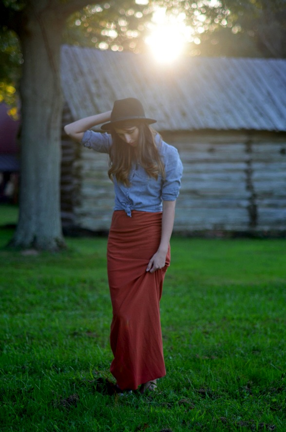 Fall Maxi Skirt Styling with Denim