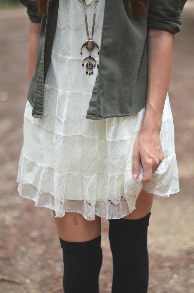 Lace Dress Tall Socks Styling