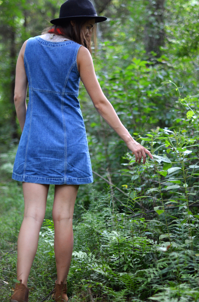 Fine and Feathered - Vintage Denim Dress