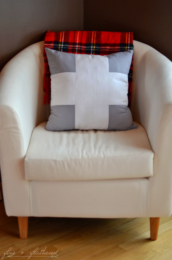 Fine and Feathered Swiss Cross Pillow