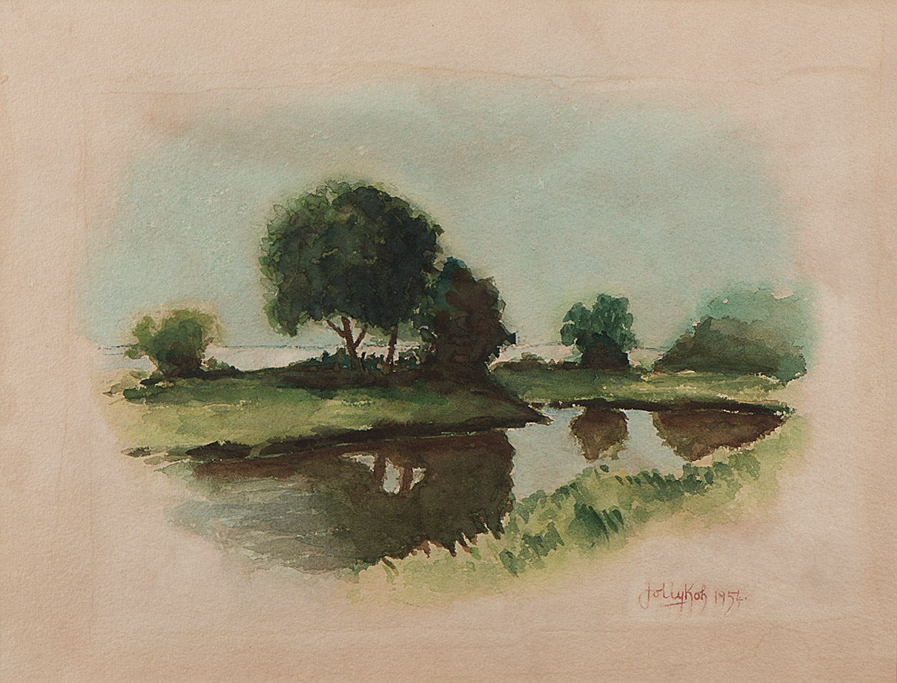 English Landscape, 1954, Watercolour on Paper, 25cm x 33cm