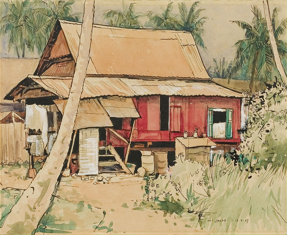 Red House, 1957, Ink &  Watercolour on Paper, 27cm x 33cm, Collection of National Visual Arts Gallery, Malaysia